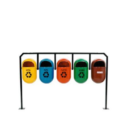 Lixeira para Coleta Seletiva 40 litros com Tampa Frontal em Fibra de Vidro